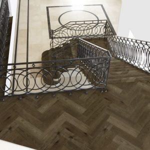 FloorsAndMore Engineered Herringbone Smoked Oak
