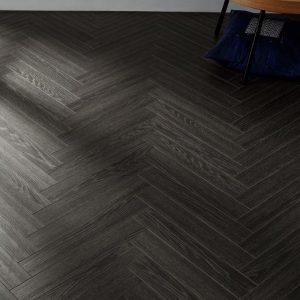 FloorsAndMore - 12mm Herringbone Laminate Flooring - Midnight Black