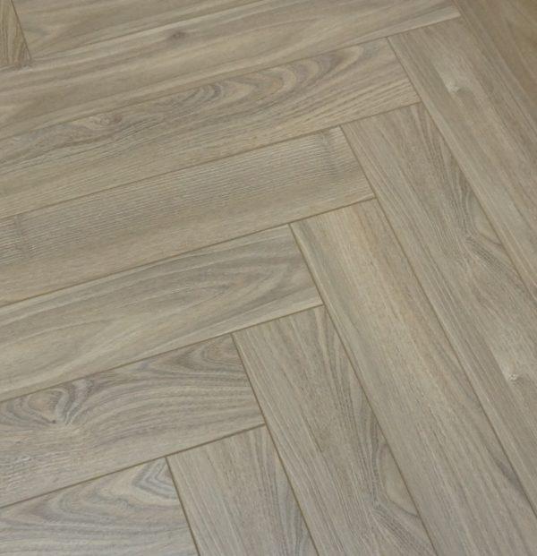 FloorsAndMore - 12mm Herringbone Laminate Flooring - Dusky Oak
